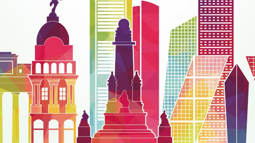 Dibujo-silueta de Madrid monumental