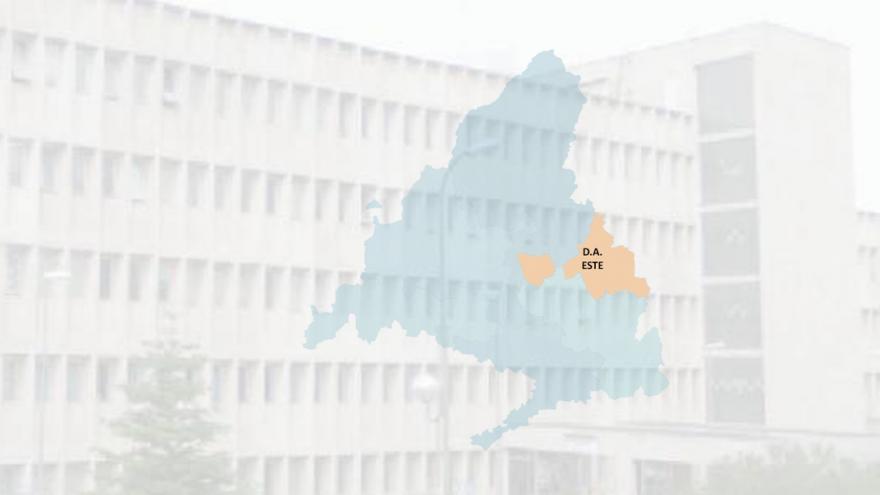 imagen de un edificio con el mapa del área de influencia de la Dirección Asistencia Este superpuesto