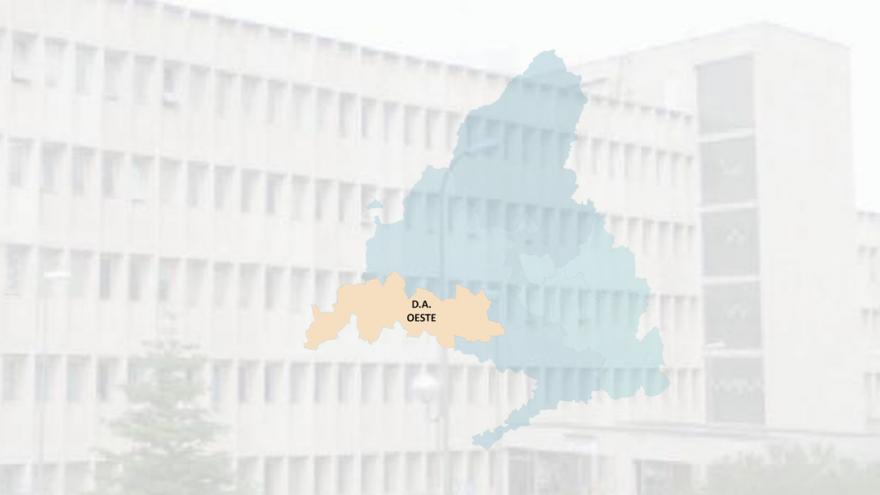 imagen de un edificio con el mapa de la DA Oeste superpuesto