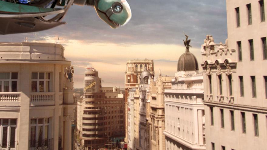 Montaje de la Gran Vía con una especie de robot mirándola desde el cielo