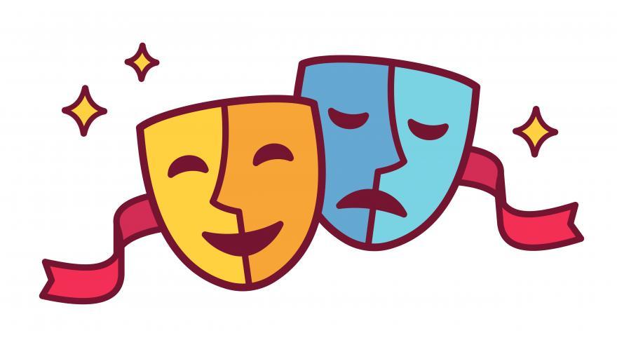 Dos máscaras de teatro clásico, una triste y otra sonriente