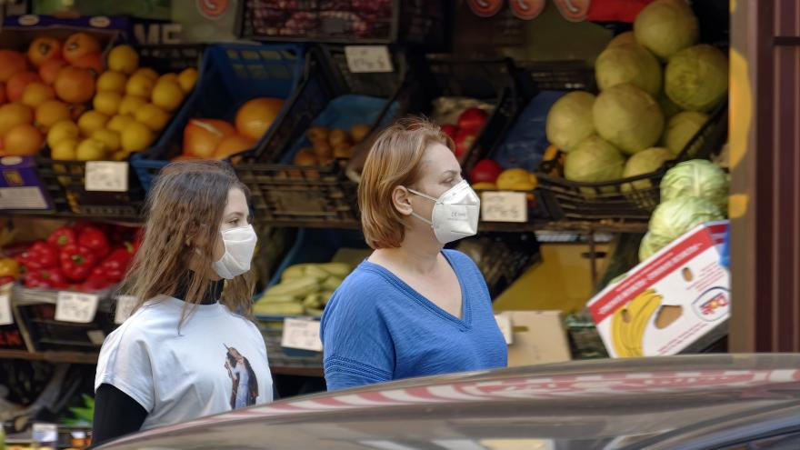 dos mujeres con mascarilla comprando