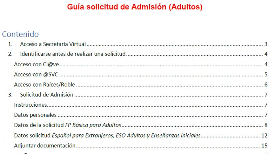 Portada de guía de SV para admisión de Personas Adultas