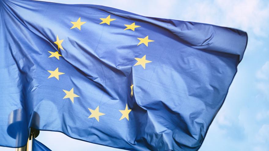 Imagen de Portada del informe EPSSCO con bandera de UE ondeando