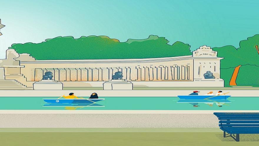 Dibujo del lago del retiro con barcas
