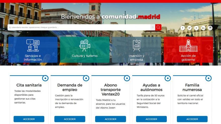 Imagen de la nueva web de la Comunidad de Madrid