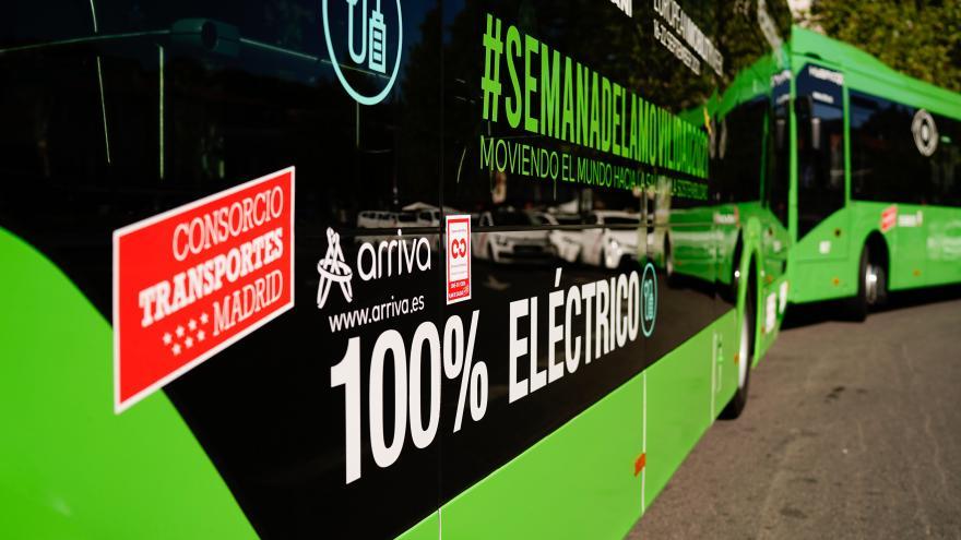 imagen de un autobús 100% eléctrico del Consorcio de Transportes de la Comunidad de Madrid