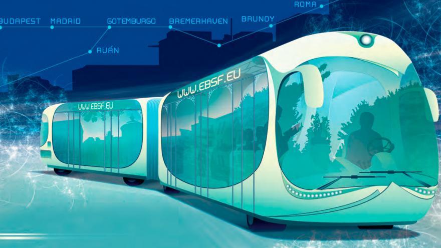 Imagen futurista de un autobús