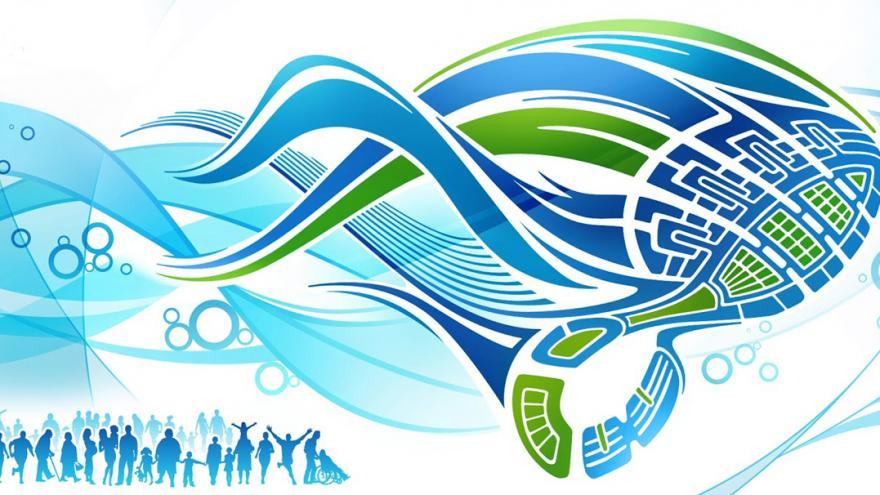 Recorte del cartel de la carrera por la diabetes dibujo esquemático de un zapato deportivo