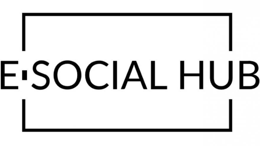 Logotipo con el texto E SOCIAL HUB