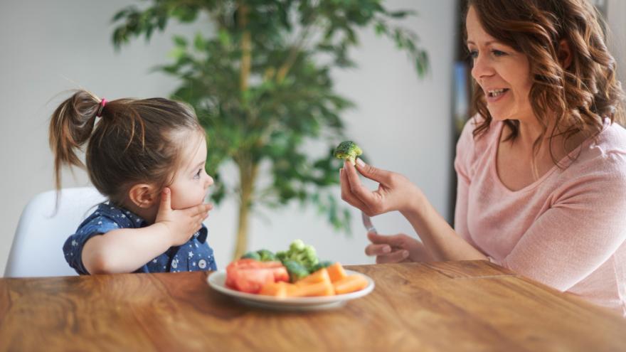 Imagen de niña y adulta con alimentos