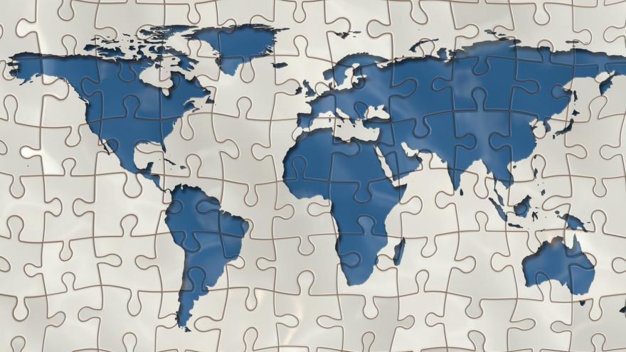 Imagen de un mapamundi que sirve de acceso al contenido de la oficina regional para la atracción de inversión extranjera, Invest in Madrid