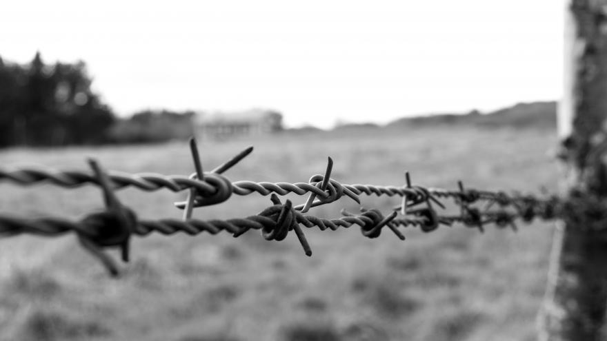 Alambre de acero con espinas en blanco y negro, fondo borroso de un campo