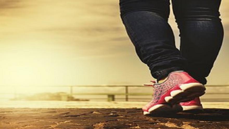 Piernas con zapatillas de deporte rojas caminando sobre un sendero de piedras