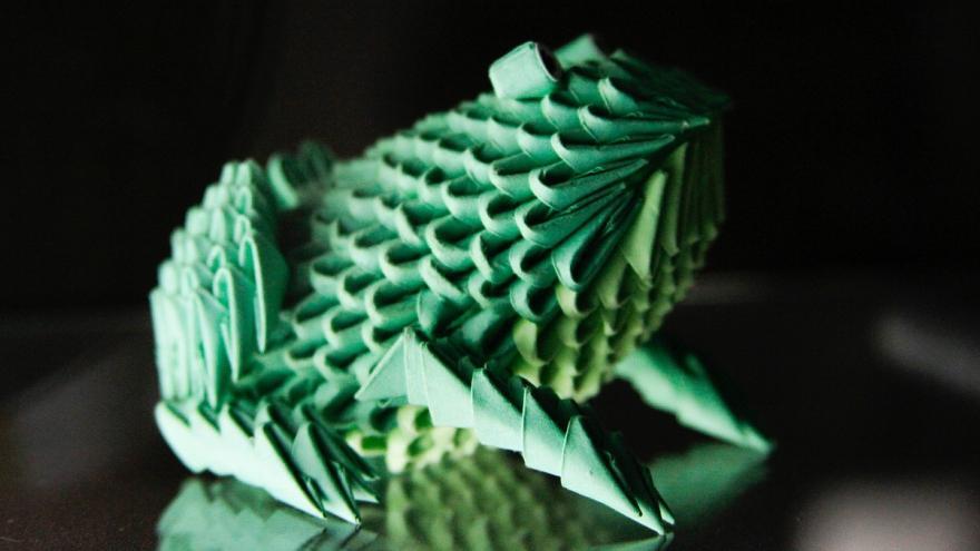 Rana origami verde