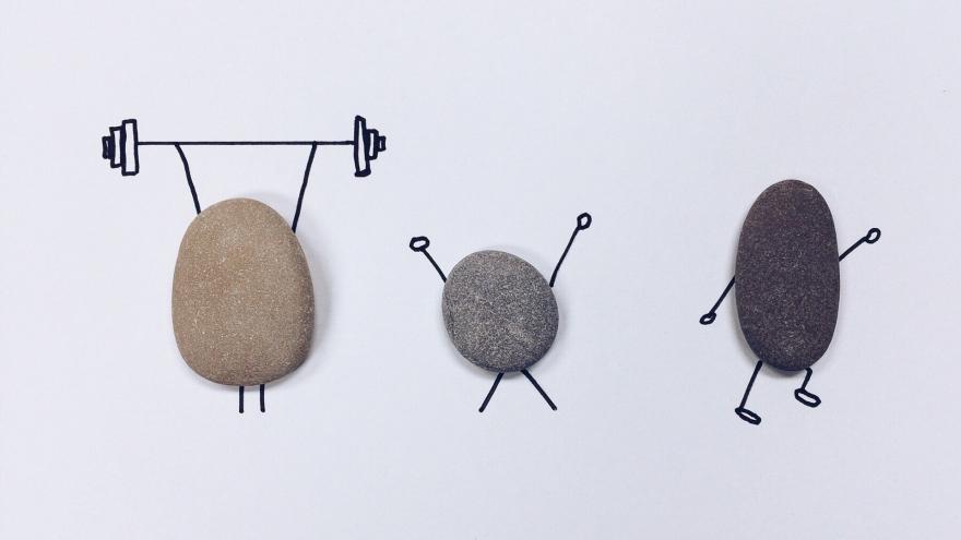 Piedras haciendo deporte