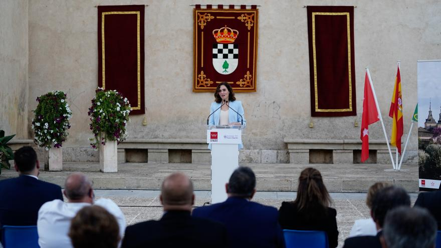Isabel Díaz Ayuso durante la celebración de la proclamación de Nuevo Baztán como uno de los pueblos más bonitos de España