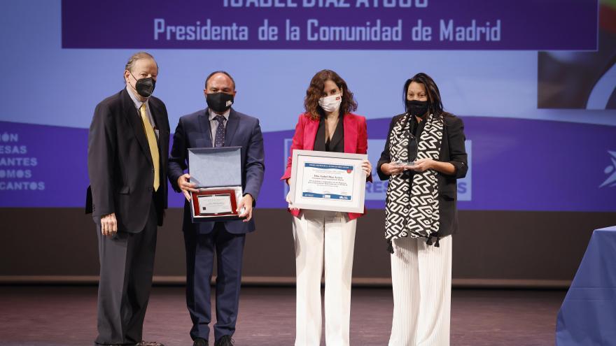 Isabel Díaz Ayuso durante el recibimiento del Premio Empresarial Ciudad de Tres Cantos