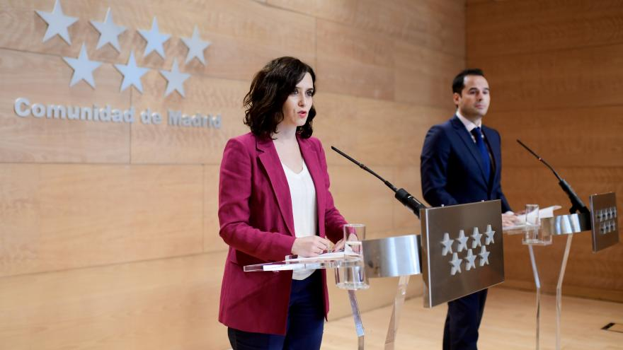 Díaz Ayuso e Ignacio Aguado durante la rueda de prensa posterior al Consejo de Gobierno