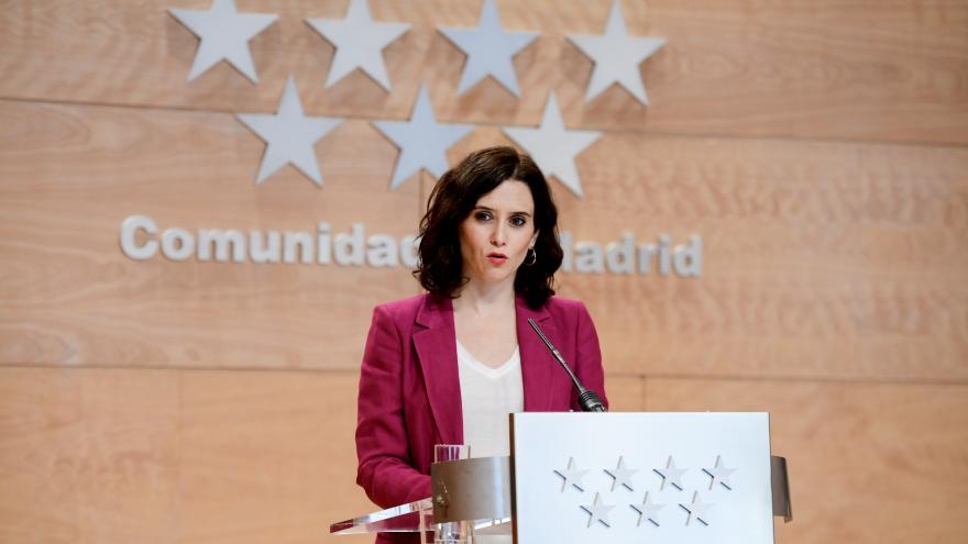 Imagen de Díaz Ayuso en la rueda de prensa tras el Consejo de Gobierno
