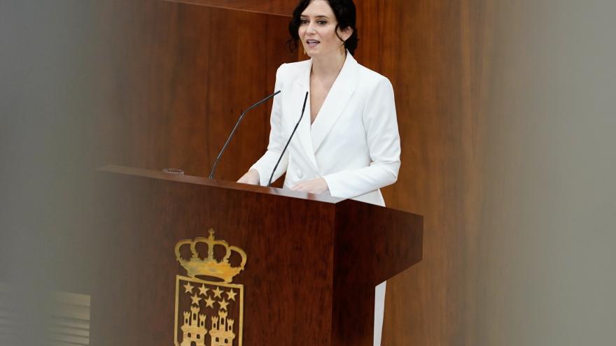 Isabel Díaz Ayuso, en el pleno de investidura en la Asamblea de Madrid