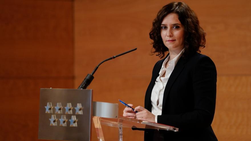Isabel Díaz Ayuso durante la rueda de prensa