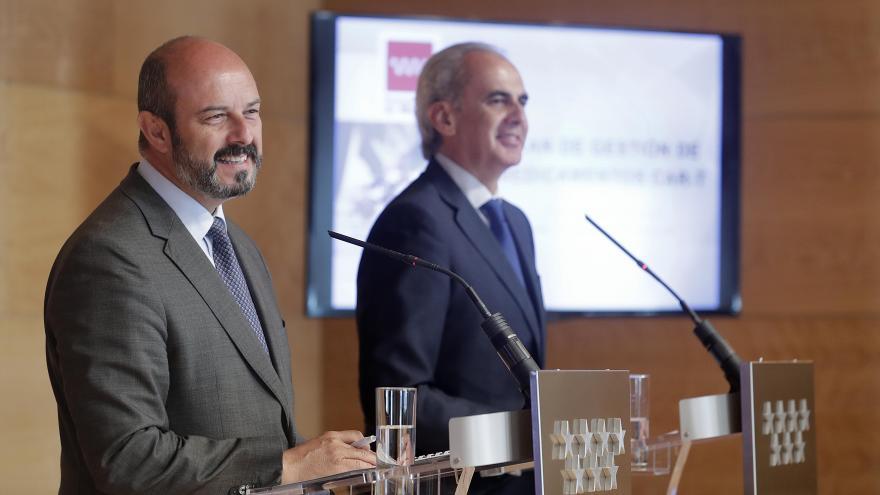 Pedro Rollán y Ruiz Escudero en la rueda de prensa posterior al Consejo de Gobierno
