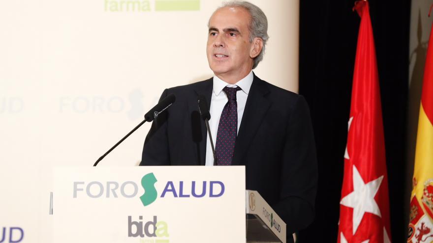 El consejero de Sanidad de la Comunidad de Madrid, Enrique Ruiz Escudero, ha intervenido esta mañana en el desayuno informativo Nueva Economía Fórum-Foro Salud