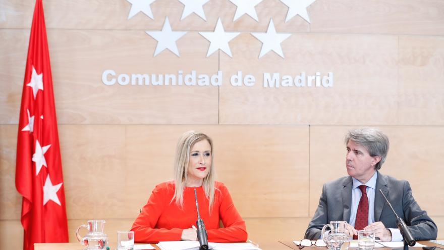 Cristina Cifuentes y Ángel Garrido en la rueda de prensa posterior al Consejo de Gobierno