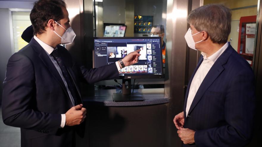 Ignacio Aguado durante la presentación del sistema de medición de temperatura corporal para empleados de Metro