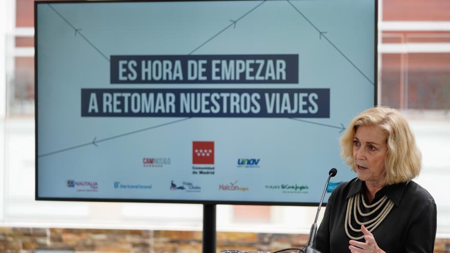 Concepción Dancausa durante la presentación del programa de Rutas Culturales para Mayores