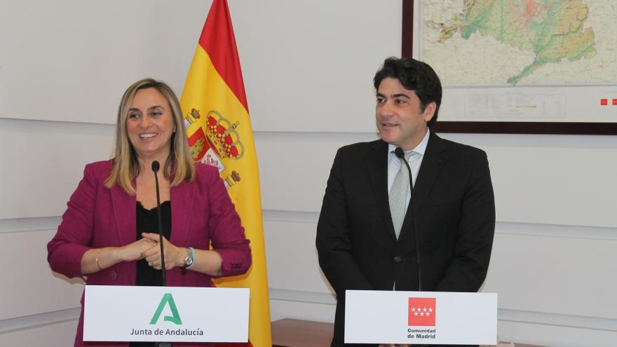 David Pérez y Marifrán Carazo durante su encuentro en Madrid