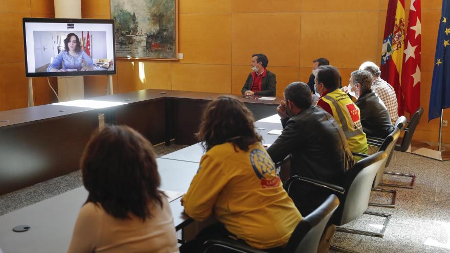 Díaz Ayuso en reunión telemática con Hospital Comunidad de Madrid en IFEMA
