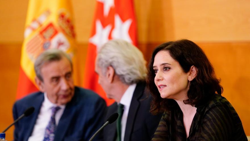 Díaz Ayuso durante la exposición a hospitales y sindicatos del plan integral de la sanidad madrileña para afrontar el coronavirus