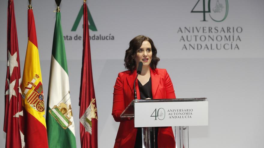 Díaz Ayuso durante la celebración en Madrid del 40 aniversario de la Autonomía de Andalucía