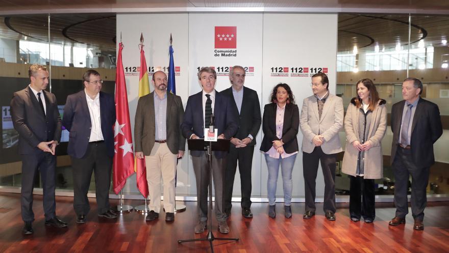 Ángel Garrido, acompañado del vicepresidente Rollán y el consejero de Sanidad