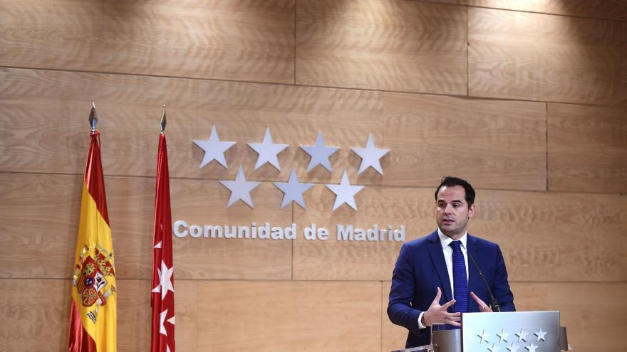 Aguado durante la rueda de prensa tras el Consejo de Gobierno