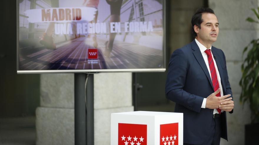 Ignacio Aguado durante la presentación del plan 'Madrid, una región en forma'
