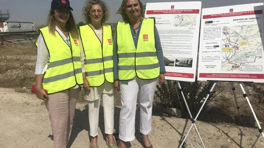 La consejera de Transportes, Vivienda e Infraestructuras Rosalía Gonzalo visita las obras del Puente Largo de Aranjuez