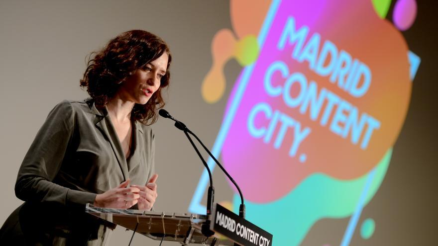 Isabel Díaz Ayuso durante la presentación del proyecto Madrid Content City