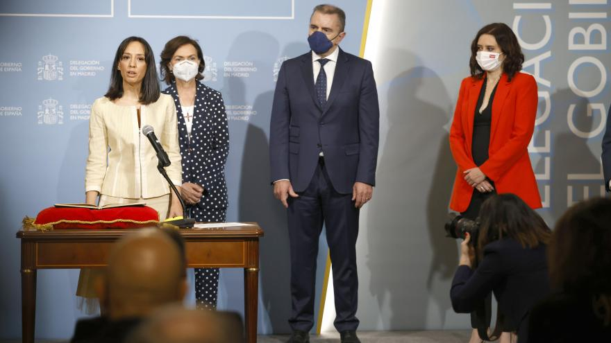 Isabel Díaz Ayuso durante la toma de posesión de la nueva delegada de Gobierno en Madrid