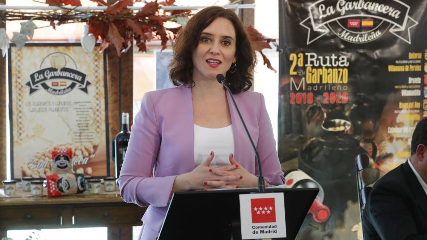 Isabel Díaz Ayuso durante la clausura de la II Ruta del Garbanzo Madrileño