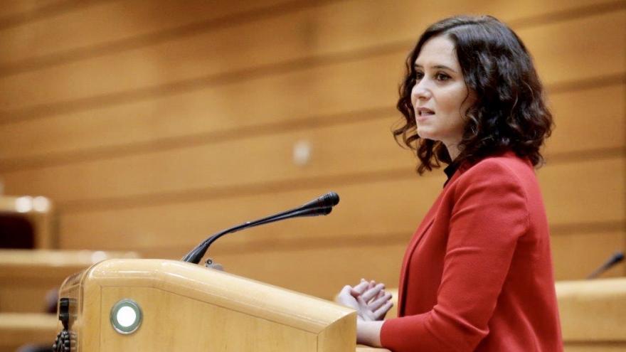 Isabel Díaz Ayuso durante su comparecencia en la Comisión General de las CCAA en el Senado