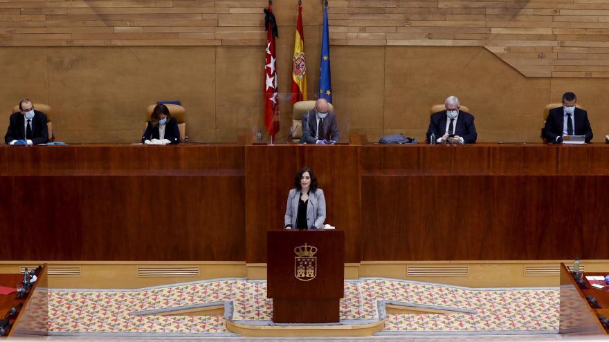 Isabel Díaz Ayuso durante su comparecencia en el Pleno de la Asamblea de Madrid