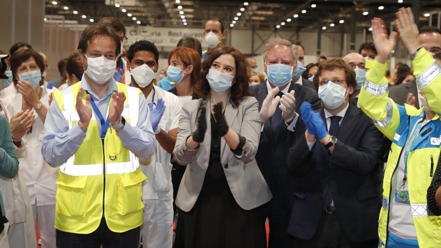 Isabel Díaz Ayuso durante la clausura del hospital temporal de IFEMA