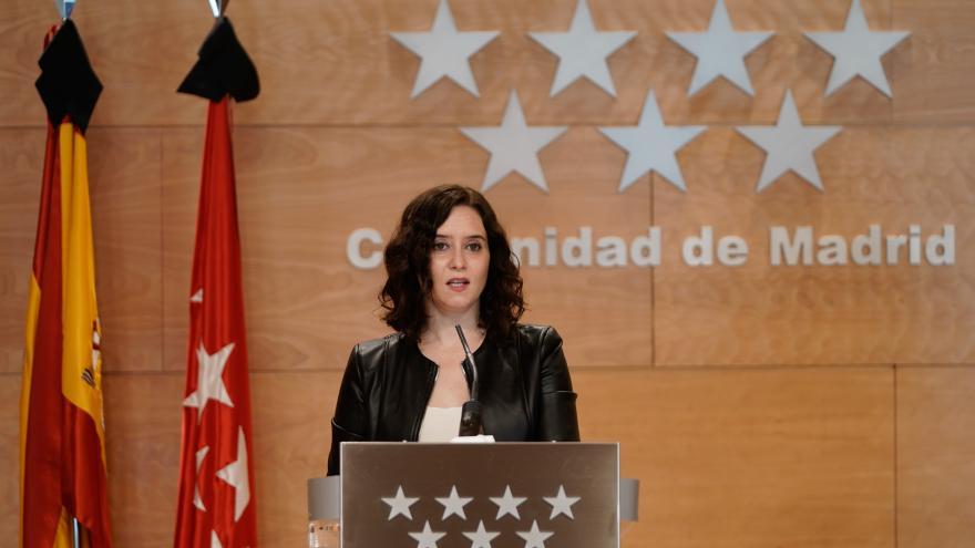 Isabel Díaz Ayuso durante una rueda de prensa en la Real Casa de Correos