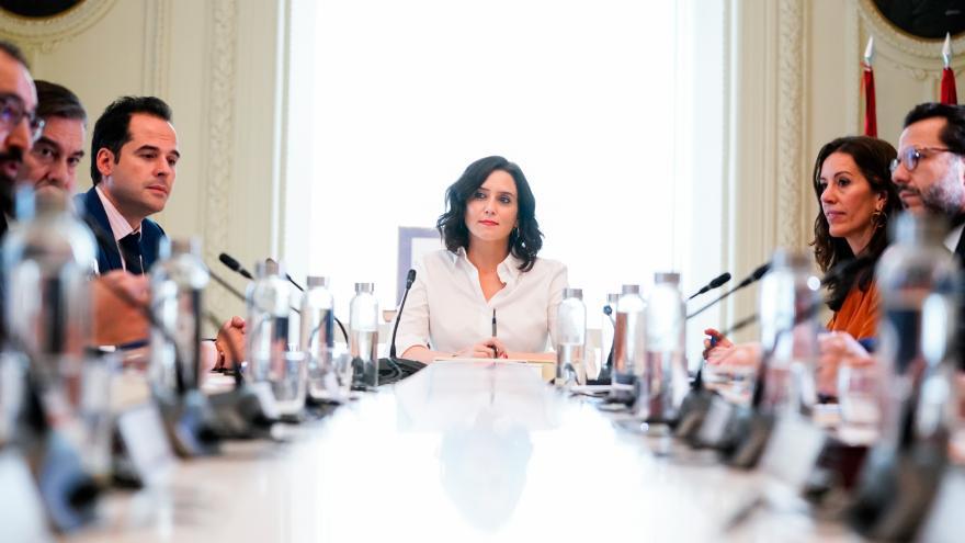 Isabel Díaz Ayuso durante la rueda de prensa posterior al Consejo de Gobierno extraordinario