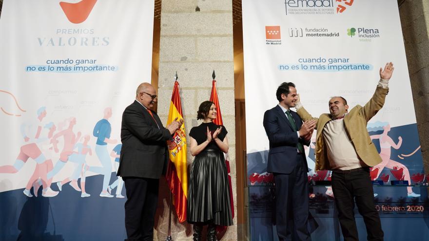 Isabel Díaz Ayuso durante la gala organizada por la Federación Madrileña de Deportes para Discapacitados Intelectuales
