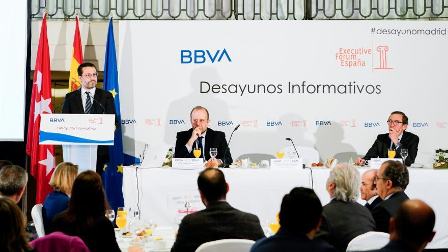 Javier Fernández-Lasquetty durante el desayuno informativo organizado por Executive Forum España y BBVA