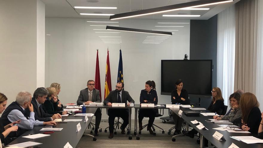 Manuel Giménez durante la reunión con la Comisión de Seguimiento del Convenio de Colaboración entre la Comunidad de Madrid y diversas Asociaciones